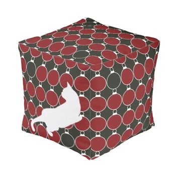 Cool Elegant Playful Cat Red and Black Modern Chic Cube Pouf for Cat Lovers