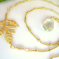 Gold leaf green amethyst beaded necklace