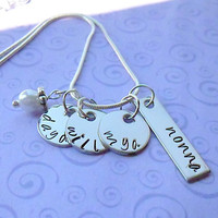 Personalized Hand Stamped Name Necklace.  4 pendants  - 3 round and 1 rectangle.