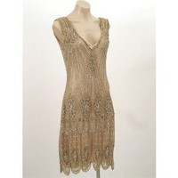 20's Style Gold Beaded Sequined Flapper Dress - Polyvore