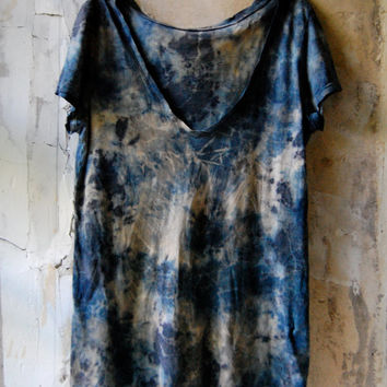 indigo and slate upcycled cotton top