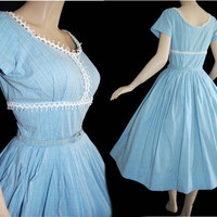 Vintage 50s Sky Blue Novelty Cotton Sweet by VintageDevotion