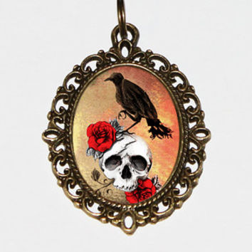 Raven Skull Roses Necklace, Raven Jewelry, Crow Necklace, Skull Jewelry, Roses Necklace, Gothic Jewelry, Oval Pendant