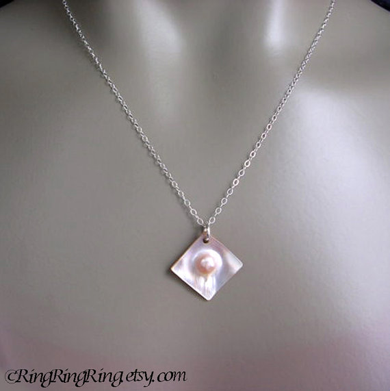 Natural White Genuine Blister Pearl on 925 Sterling silver necklace. Pearl attached Mother of pearl.