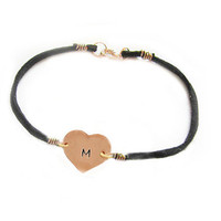 Copper Heart Bracelet Custom Hand Stamped Initial Black Leather Suede Jewelry Wedding Birthday