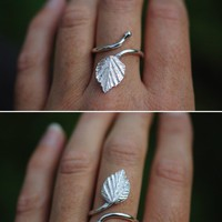 Silver birch leaf ring by SilverBlueberry on Etsy