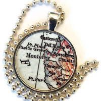 Monterey, California map necklaces, pendant charms, Monterey Bay, Carmel map necklace