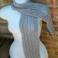 Hand Knit Scarf - The Lace Knit Scarf in Periwinkle - Spring, Summer, Fall Accessories, Women's Scarf