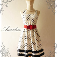 NEW Amor Vintage 50&#x27;s Rockabilly  Inspired Black and White Polka Dot Love Vintage Red Belt -Fit Size M-