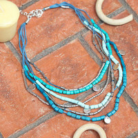 thunder bay beaded necklace in blue - $18.99 : ShopRuche.com, Vintage Inspired Clothing, Affordable Clothes, Eco friendly Fashion