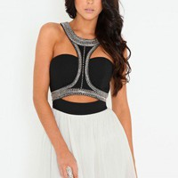 Missguided - Embellished Cut Out Contrast Dress