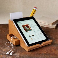 Bamboo Apple iPad Stand Added Cubbies and Drawers