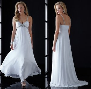 Spaghetti strap white chiffon girls party dress prom dress