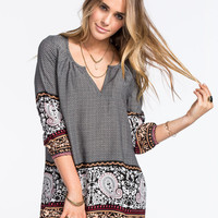 Full Tilt Border Print Womens Tunic Black Combo  In Sizes