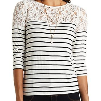 Lace Yoke Striped Top by Charlotte Russe - White Combo