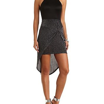 Knotted & Layered Glitter Dress by Charlotte Russe - Black Combo