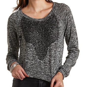 Sparkly Crocheted Marled Sweatshirt by Charlotte Russe - Charcoal