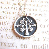 Wax seal charm tree with flowers hand made from recycled fine silver