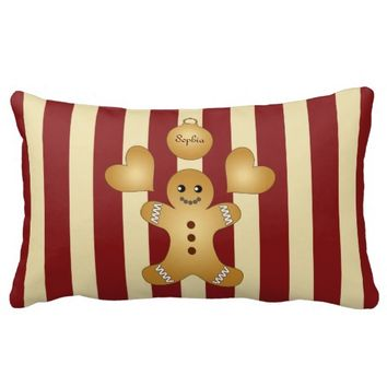 Cute Christmas Holiday Cookies Personalized Name Kids Throw Pillows for Cookie Lovers and Bakers
