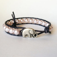 Elephant Leather Wrap Bracelet -  Good Luck Elephant Button - Pink Swarvoski Pearls