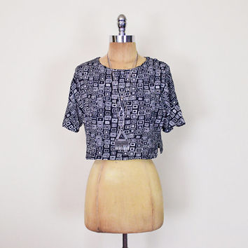 Vintage 90s Black & White Geometric Print Top Abstract Print Shirt Blouse Crop Top Slouchy Top Oversize Top 90s Grunge Top Grunge Shirt XS S