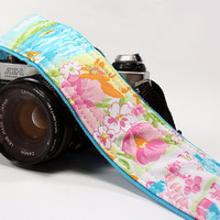 Camera Strap, Sailboats, Floral, OOAK, Pink, Blue, Green, dSLR, SLR,