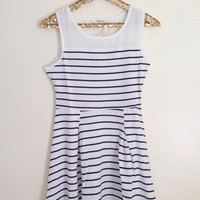 Striped Navy Skater Dress