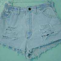 Lee High Waisted, Destroyed Jean Shorts