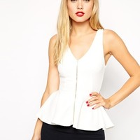 ASOS Peplum Top with Zip Front