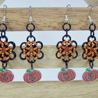 Halloween earrings pumpkins black orange japanese flower chainmaille