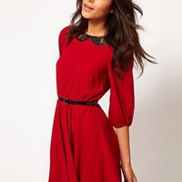 ASOS Skater Dress With Lace Insert Collar at asos.com