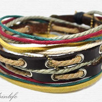 Hand-woven ethnic leather hemp bracelet BD5