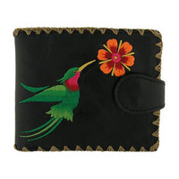 Hummingbird vegan/faux leather medium wallet with embroidery - 