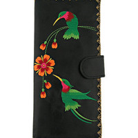 Hummingbird vegan/faux leather large wallet with embroidery - 