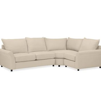 PB COMFORT ROLL ARM UPHOLSTERED 3-PIECE SECTIONAL WITH WEDGE