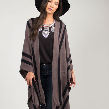 Striped Soft Knitted Cape - Charcoal / One