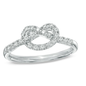 1/5 CT. T.W. Diamond Heart-Shaped Knot Ring in Sterling Silver