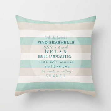 build sandcastles Throw Pillow by Sylvia Cook Photography