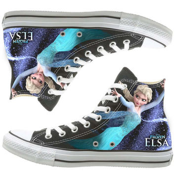 frozen custom painted shoes, custom shoes by natalshoes