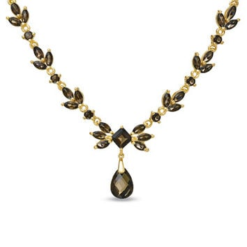 Pear-Shaped Smoky Quartz Drop V-Shaped Necklace in Sterling Silver with 18K Gold Plate - 17