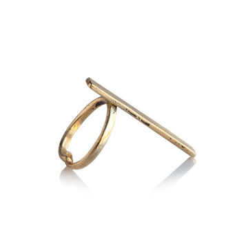 Long Minimalistic gold rocker adjustable geometric ring - made to order