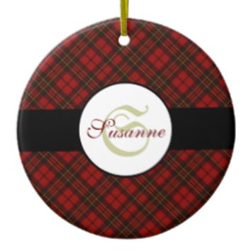 Adorable trendy Red and Black tartan Monogram Christmas Tree Ornament by PLdesign