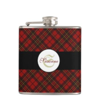Adorable trendy Red and Black tartan Monogram Hip Flasks by PLdesign