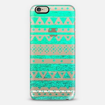 TEAL TRIBAL - CRYSTAL CLEAR PHONE CASE iPhone 6 case by Nika Martinez | Casetify