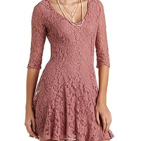 Flared Lace Skater Dress by Charlotte Russe - Mauve