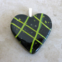 Black Heart Pendant, Yellow Stripes, Fused Glass Heart, Couples Jewelry - Hanky Panky - 3872 -4