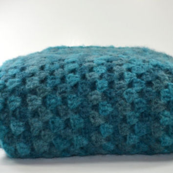 Turquoise Knit Throw..Crochet Afghan...Granny Square Blanket