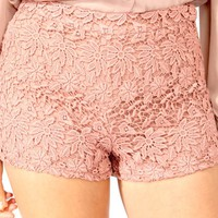 High-Waisted Crochet Shorts