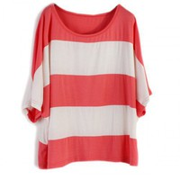 Women Cotton Sheath Stripes Loose Batwings Short Sleeve Scoop Red T-Shirt One Size@SX0004-1r $11.99 only in eFexcity.com.