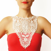 Ivory Crochet Cotton Lace Collar Applique Chain Harness